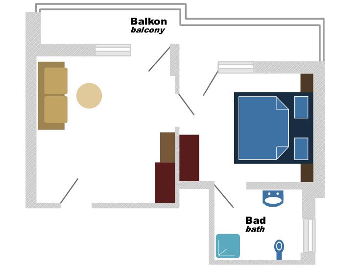 Plan Doppelzimmer mit Zustellbett